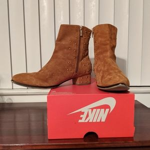 Raye Brown Suede Gold Stud Ankle Booties Boots 10